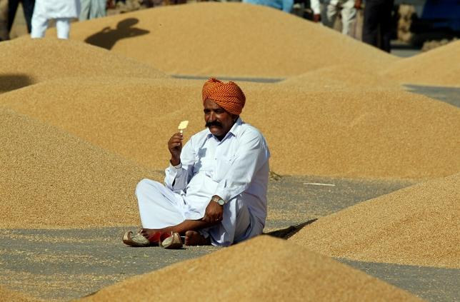 A farmer eats an ice-cream as he waits to procure his wheat crop at a wholesale grain market in Chandigarh April 26, 2014. REUTERS/Ajay Verma/Files