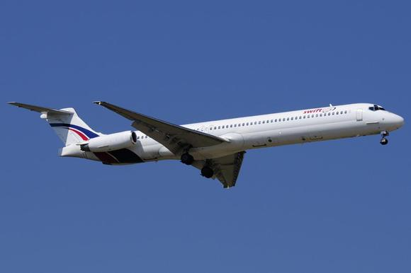 A Swiftair MD-83 airplane is seen in this undated photo. Authorities have lost contact with an Air Algerie flight en route from Ouagadougou in Burkina Faso to Algiers with 110 passengers on board, Algeria's APS state news agency and a Spanish airline company said on Thursday. REUTERS/Xavier Larrosa