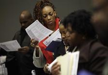 People attend a job fair in Detroit, Michigan March 1, 2014. REUTERS/Joshua Lott