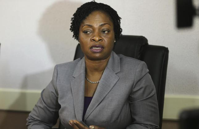 Yewande Adeshina, special adviser on public health to the Lagos state government, speaks with Reuters in her office after a news conference on suspected outbreak of Ebola virus in Lagos, July 24, 2014.  REUTERS/Akintunde Akinleye