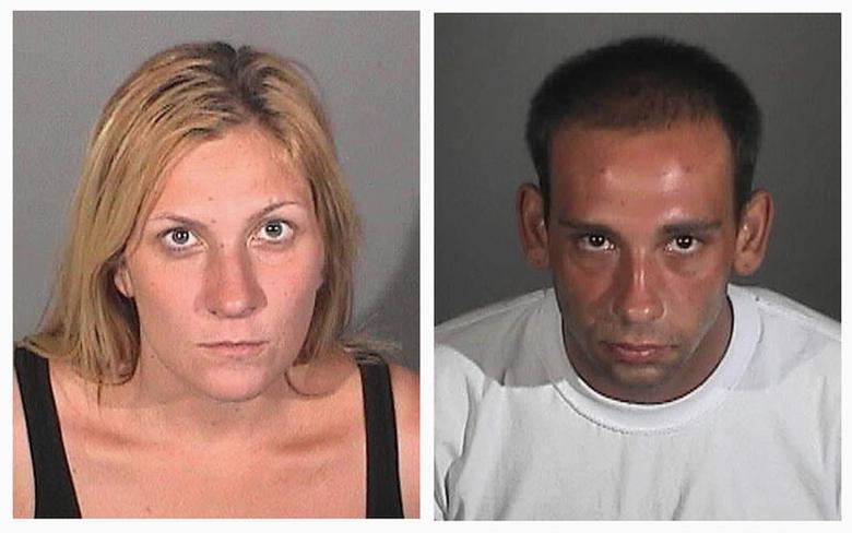 Burglary suspects Andrea Miller (L) and Gus Adams are shown in this combination of handout booking photos provided by the Long Beach (CA) Police Department, released to Reuters July 25, 2014. REUTERS/Long Beach Police Department/Handout via Reuters