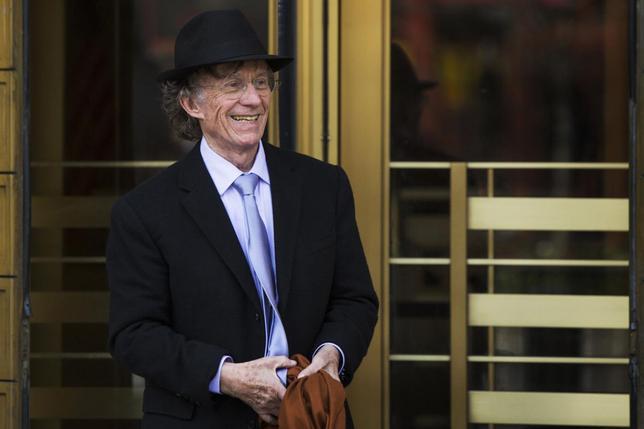 Texas investor Samuel Wyly exits the Manhattan Federal Court April 22, 2014.  REUTERS/Lucas Jackson