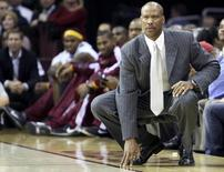 Cleveland Cavaliers' head coach Byron Scott watches from the sideline during the first half of the Cavaliers game against the Boston Celtics in Cleveland, Ohio October 27, 2010.    REUTERS/Aaron Josefczyk