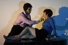 Singers Frederic Antoun as Amadeus Daberlohn and Marianne Crebassa as Charlotte Kann perform on stage during a dress rehearsal of Marc-Andre Dalbavie's opera 'Charlotte Salomon' in Salzburg July 24, 2014.  REUTERS/Leonhard Foeger