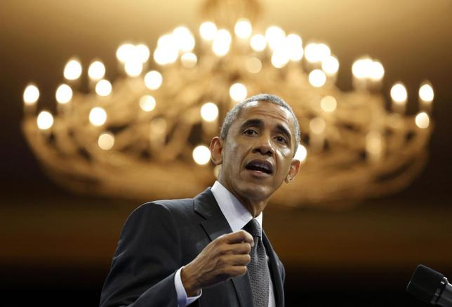 U.S. President Barack Obama speaks at the Summit of the Washington Fellowship for Young African Leaders at the Omni Shoreham Hotel in Washington, July 28, 2014.     REUTERS/Larry Downing