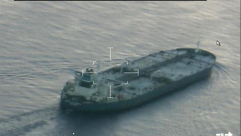 A still image from video taken by a U.S. Coast Guard HC-144 Ocean Sentry aircraft shows the oil tanker United Kalavyrta (also known as the United Kalavrvta), which is carrying a cargo of Kurdish crude oil, approaching Galveston, Texas July 25, 2014. U.S. authorities are set to seize a cargo of oil from Iraqi Kurdistan anchored off the Texas coast after a judge approved a request from Baghdad, raising the stakes in an oil sales dispute between Iraq's central government and the autonomous region.REUTERS/US Coast Guard/handout via Reuters