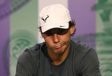 Rafael Nadal em entrevista coletiva em Wimbledon. 01/07/2014  REUTERS/Scott Heavey/AELTC/Pool