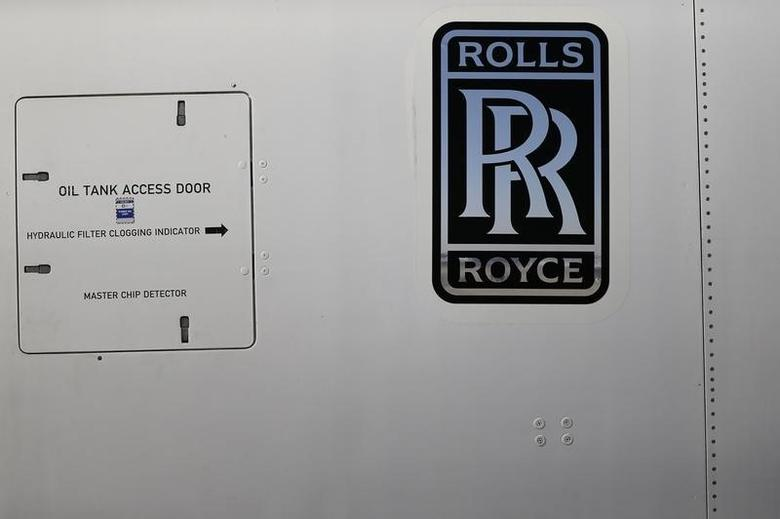 A Rolls-Royce logo is pictured on an Airbus A380 engine during the International Air and Space Fair (FIDAE) at the Santiago international airport, March 25, 2014. REUTERS/Ivan Alvarado