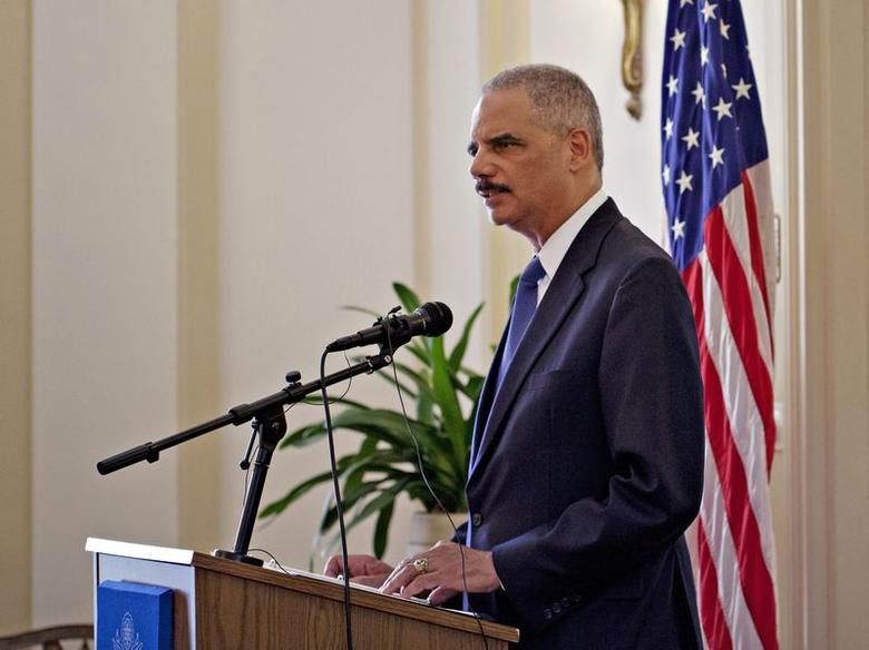U.S. Attorney General Eric Holder speaks at the U.S. ambassador's residence in Oslo July 8, 2014.  REUTERS/Anette Karlsen/NTB Scanpix