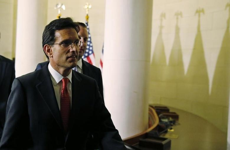 Eric Cantor (R-Va) arrives for House Republican leadership elections in the Longworth House Office Building on Capitol Hill in Washington, June 19, 2014.  REUTERS/Joshua Roberts