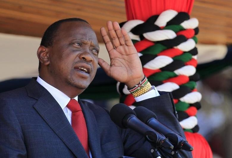 Kenya's President Uhuru Kenyatta addresses the nation during celebrations for Madaraka Day, marking the 51st anniversary of the country gaining independence in 1963, at Nyayo national stadium in Nairobi, June 1, 2014. REUTERS/Noor Khamis