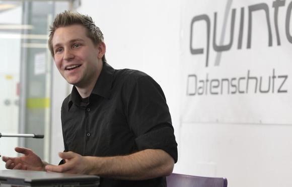 Law student Max Schrems briefs the media in Vienna February 7, 2012. REUTERS/Herwig Prammer/Files