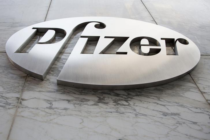 The Pfizer logo is seen at their world headquarters in New York April 28, 2014. REUTERS/Andrew Kelly/Files