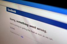 "A Facebook error message is seen in this illustration photo of a computer screen in Singapore June 19, 2014.  Facebook Inc's website appeared to be back up on Thursday a few minutes after it displayed a message saying ""Sorry, something went wrong"". The outage was reported in several countries, including China, Singapore and India. REUTERS/Thomas White (SINGAPORe - Tags: BUSINESS TELECOMS SOCIETY)"