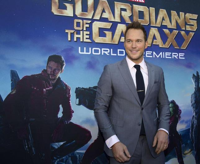 Cast member Chris Pratt poses at the premiere of ''Guardians of the Galaxy'' in Hollywood, California July 21, 2014. The movie opens in the U.S. on August 1. REUTERS/Mario Anzuoni