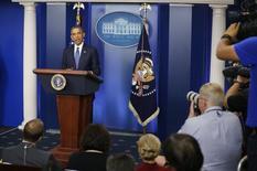 O presidente norte-americano, Barack Obama, fala à imprensa na Casa Branca, em Washington, nesta sexta-feira. 01/08/2014 REUTERS/Larry Downing