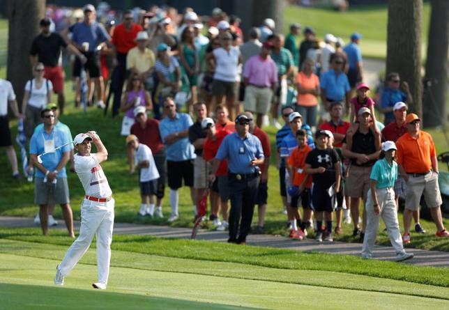 Aug 2, 2014; Akron, OH, USA; Sergio Garcia approach shot on the second hole during the third round of the WGC-Bridgestone Invitational golf tournament at Firestone Country Club - South Course. Joe Maiorana-USA TODAY Sports