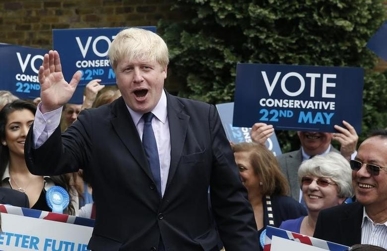 London Mayor Boris Johnson speaks at a rally in west London May 21, 2014. REUTERS/Suzanne Plunkett