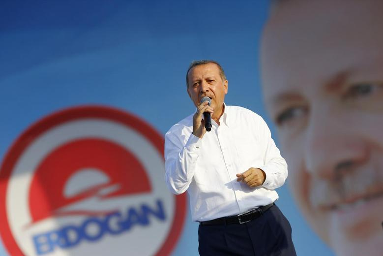 Turkey's Prime Minister and presidential candidate Tayyip Erdogan addresses his supporters during an election rally in Istanbul August 3, 2014. REUTERS/Murad Sezer