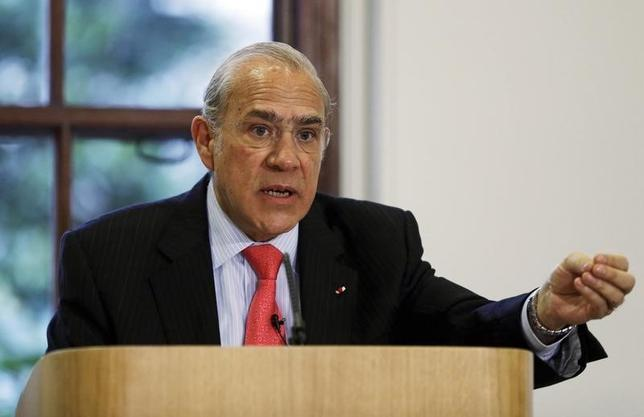 Angel Gurria, Secretary-General of the Organisation for Economic Co-operation and Development (OECD) speaks during the launch of the economic survey of the United Kingdom, at the Treasury in London February 6, 2013. REUTERS/Lefteris Pitarakis/pool