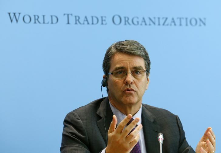 World Trade Organization (WTO) Director-General Roberto Azevedo gestures during a news conference on world trade in 2013 and prospect for 2014 in Geneva April 14, 2014. REUTERS/Denis Balibouse