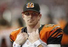 Cincinnati Bengals quarterback Andy Dalton stands on the sidelines during the BEngals loss to the Houston Texans in their NFL AFC wildcard playoff football game in Houston, Texas January 5, 2013. REUTERS/Mike Stone