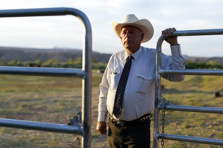 Rancher Cliven Bundy stands near a metal gate on his 160 acre ranch in Bunkerville, Nevada May 3, 2014.   REUTERS/Mike Blake