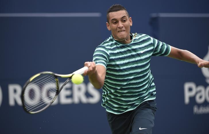 Aug 5, 2014; Toronto, Ontario Canada; Nick Kyrgios , of Australia, plays a forehand against Santiago Giraldo , of Colombia, on day two of the Rogers Cup tennis tournament at Rexall Centre. Peter Llewellyn-USA TODAY Sports