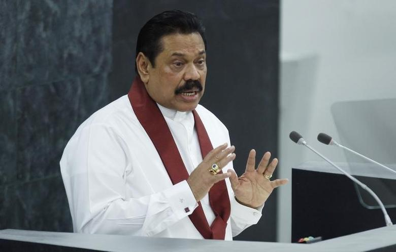 Sri Lanka's President Mahinda Rajapaksa addresses the 68th United Nations General Assembly at U.N. headquarters in New York, September 24, 2013.  REUTERS/Eduardo Munoz