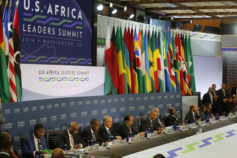 U.S. President Barack Obama (C) delivers opening remarks to more than 50 fifty leaders gathered for the U.S.-Africa Leaders Summit Session One on 'Investing in Africa's Future,' at the U.S. State Department in Washington August 6, 2014.    REUTERS/Jim Bourg