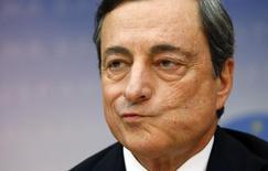 Presidente do Banco Central Europeu (BCE), Mario Draghi, durante coletiva de imprensa em Frankfurt. 3/07/2014. REUTERS/Ralph Orlowski