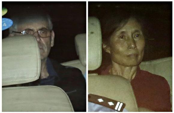 A combination photo shows British corporate investigator Peter Humphrey (L) and his wife Yu Yingzeng as they leave the Shanghai No.1 Intermediate People's Court inside a police vehicle in Shanghai August 8, 2014. REUTERS/Aly Song