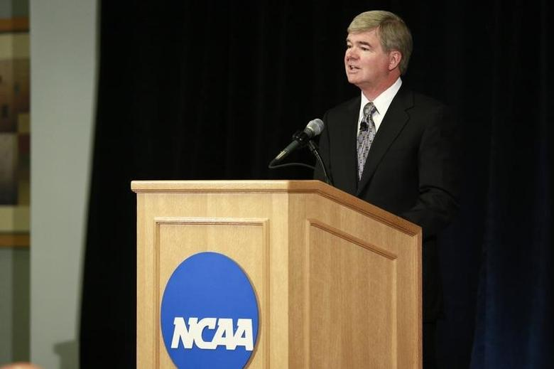 President of the National Collegiate Athletic Association (NCAA) Mark Emmert speaks during a news conference at the NCAA headquarters in Indianapolis July 23, 2012.  REUTERS/Brent Smith