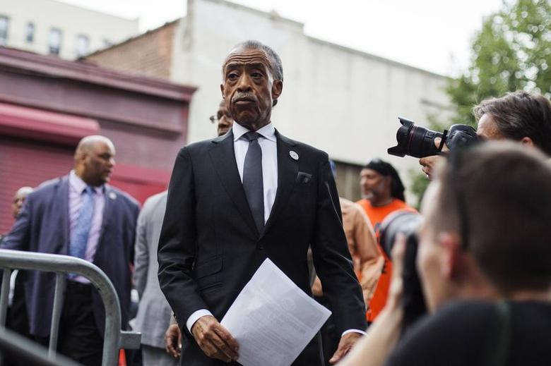 Reverend Al Sharpton arrives to speak before attending the funeral of Eric Garner in New York July 23, 2014.  REUTERS/Lucas Jackson