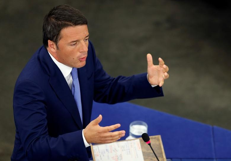 Italy's Prime Minister Matteo Renzi addresses the European Parliament during a debate on the program of the Italian Presidency of the EU for the next six months, in Strasbourg, July 2, 2014. REUTERS/Vincent Kessler/Files