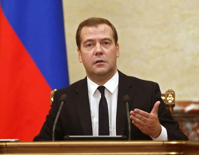 Russia's Prime Minister Dmitry Medvedev leads a government meeting in Moscow, August 7, 2014. REUTERS/Dmitry Astakhov/RIA Novosti/Pool