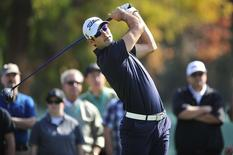 February 16, 2014; Pacific Palisades, CA, USA; Cameron Tringale hits from the second hole tee during the final round of the Northern Trust Open at Riviera Country Club. Mandatory Credit: Gary A. Vasquez-USA TODAY Sports - RTX18YFP