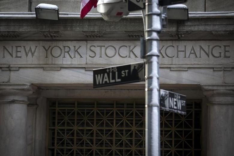 The Wall St. sign is seen outside the door to the New York Stock Exchange in New York's financial district February 4, 2014.   REUTERS/Brendan McDermid