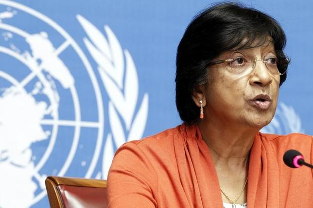 UN High Commissioner for Human Rights Navi Pillay speaks during a news conference for a report on ''the right to privacy in the digital age'' at the United Nations in Geneva, July 16, 2014.  REUTERS/Pierre Albouy