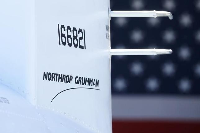 The corporate logo of  Northrop Grumman is shown on a Fire Scout MQ-8 B unmanned helicopter during a ceremony at Naval Air Station North Island in Coronado, California, May 2, 2013.  REUTERS/Mike Blake