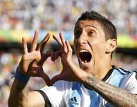 Di María comemora gol da Argentina contra a Suíça na Copa do Mundo, no dia 1 de julho.   REUTERS/Ivan Alvarado