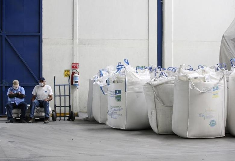 Workers sit next to bags containing sugar at the San Francisco Ameca sugar factory in the town of Ameca, Jalisco, February 18, 2011. REUTERS/Alejandro Acosta