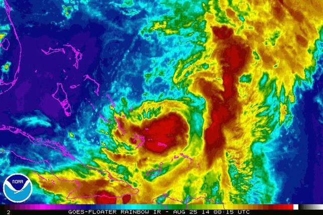 Tropical Storm Cristobal is seen in a NASA Goes Satellite infrared image taken at 20:15 EST (00:15 GMT) August 25, 2014.  REUTERS/NASA/Handout