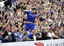 Diego Costa, do Chelsea, comemora gol marcado contra o Leicester City no Campeonato Inglês. 23/08/2014 REUTERS/Toby Melville