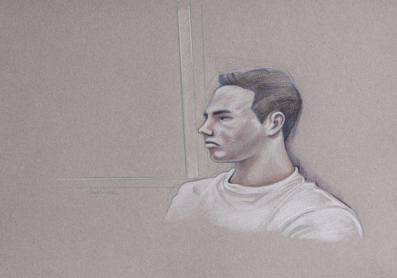 An artist's sketch shows Luka Rocco Magnotta, appearing in court for his preliminary hearing in Montreal, in this March 12, 2013 file image. REUTERS/Atalante/Files