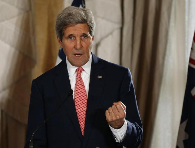 U.S. Secretary of State John Kerry speaks at a news conference at the conclusion of the AUSMIN meeting at Admiralty House in Sydney August 12, 2014.      REUTERS/Jason Reed