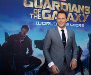 """En la imagen, el protagonista de """"Guardianes de la Galaxia"""", Chris Pratt, posa durante la presentación de la cinta en Hollywood, California. 21 de julio, 2014. La aventura espacial """"Guardianes de la Galaxia"""" volvió a ocupar la cima de la cartelera cinematográfica en Estados Unidos el fin de semana, superando a la película basada en un cómic de Marvel """"Capitán América"""" para convertirse en la cinta más taquillera del 2014 en ese país.  REUTERS/Mario Anzuoni"""