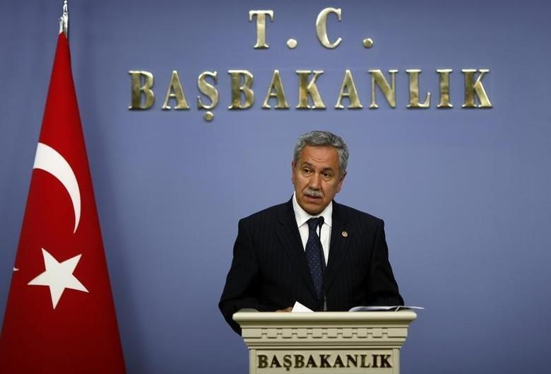 Turkey's Deputy Prime Minister Bulent Arinc addresses the media in Ankara May 31, 2010.  REUTERS/Umit Bektas