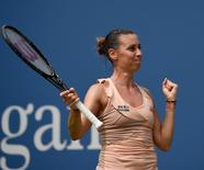 Sept 1, 2014; New York, NY, USA; Flavia Pennetta (ITA) reacts after defeating Casey Dellacqua (AUS) on day eight of the 2014 U.S. Open tennis tournament at USTA Billie Jean King National Tennis Center. Mandatory Credit: Robert Deutsch-USA TODAY Sports