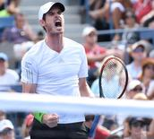 Sept 1, 2014; New York, NY, USA; Andy Murray (GBR) reacts after defeating Jo-Wilfried Tsonga (FRA) on day eight of the 2014 U.S. Open tennis tournament at USTA Billie Jean King National Tennis Center.  Robert Deutsch-USA TODAY Sports